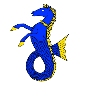 A sea-horse sejant azure, crined, finned, unguled, and gorged of a laurel wreath Or. (Registered April 1975)