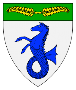 Argent, a seahorse erect azure, on a chief vert a laurel wreath elongated fesswise Or. (Returned December 1983)