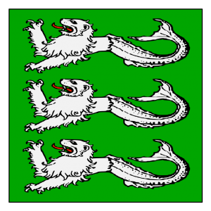 Vert, in pale three sea-lions passant argent. (Registered October 2012)
