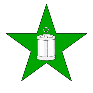On a mullet vert a lantern argent. (Registered December 2013)