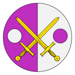 Per pale purpure and argent, two swords in saltire Or between two roundels counterchanged.