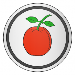 Argent, an apple gules slipped and leaved proper within an orle sable.
