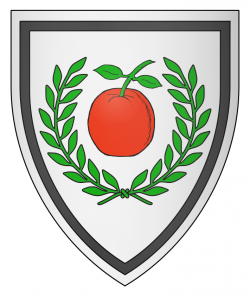 Argent, an apple gules slipped and leaved proper within a laurel wreath vert, and an orle sable.